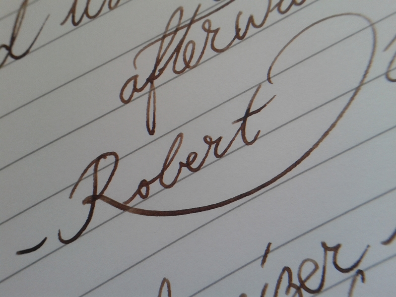 Definitely not a flex nib, but having a bit of spring, it does offer a little bit of character