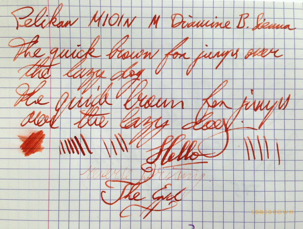 Pelikan M101N Red Tortoise Writing Sample