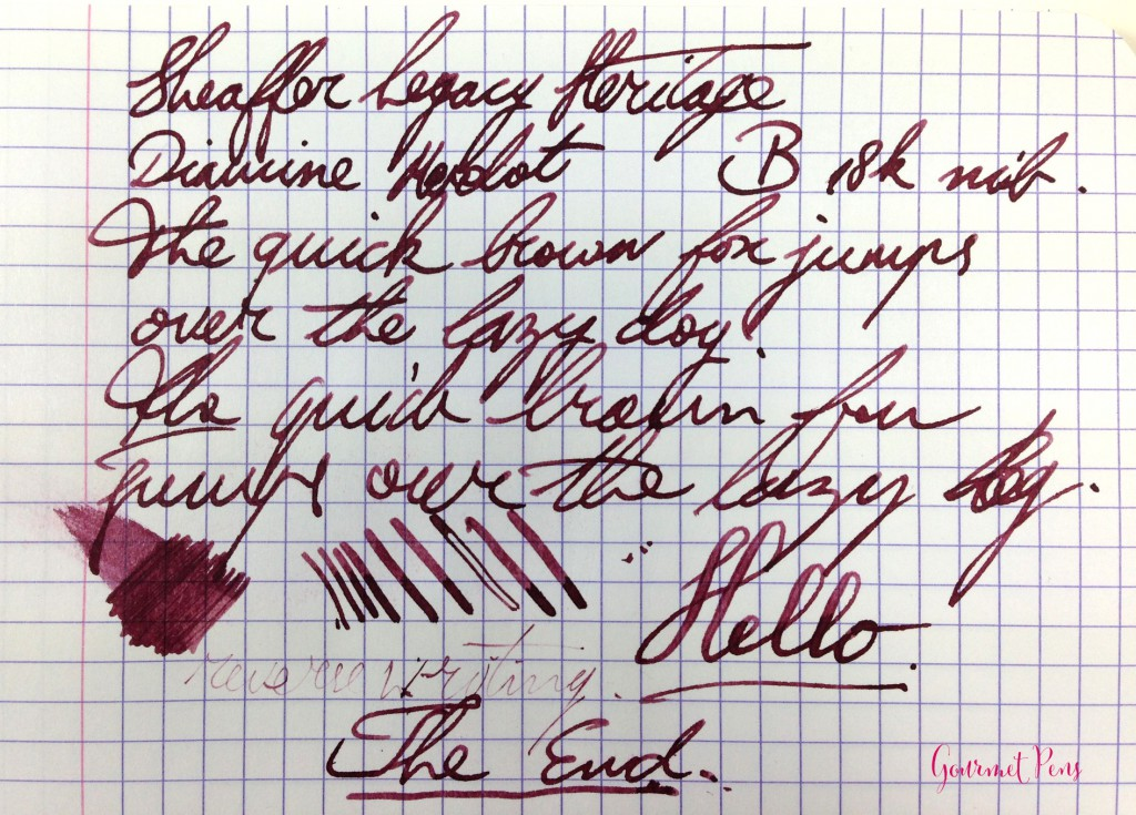 Sheaffer Legacy Heritage Fountain Pen Writing Sample