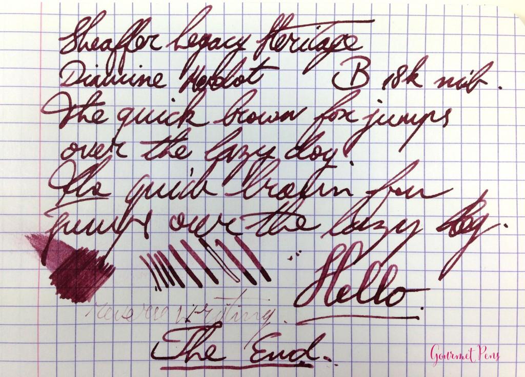Sheaffer Legacy Heritage Fountain Pen Writing Sample