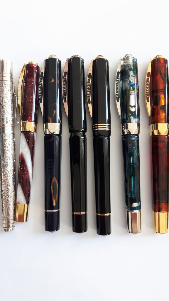 Left to right: Yard-O-Led Viceroy Grand, Visconti Opera Elements Fire, Visconti Kakadu, Visconti 25th Anniversary Urushi, Visconti Australis, Visconti Opera Master Demonstrator, Visconti Opera Master Tobacco/Tortoise/Turtle